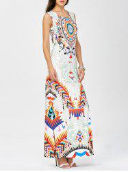 Maxi Sleeveless Side Slit Geometric Print Dress
