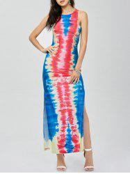Tie Dye Side Slit Cut Out Dress