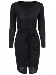 Long Sleeve Belted Button Down Pencil Dress