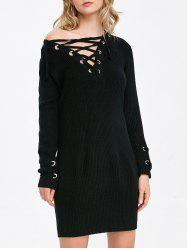 Long Sleeve Lace-Up Ribbed Tunic Dress