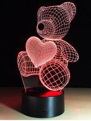 Illusion Valentine 3D Cadeau Changement de couleur Ours LED tactile Night Light - Coloré