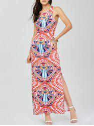 Geometric Print Cut Out Side Slit Dress
