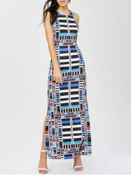 Striped Geometric Print Cut Out Dress