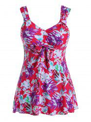 Plus Size Flower Print One-Piece Swimwear