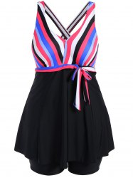 Plus Size Colorful Striped Padded Swimwear
