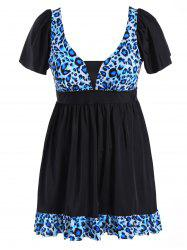 Plus Size Leopard Print Ruffled Swimwear
