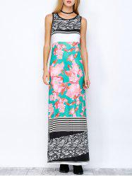 Floral Print Striped Maxi Dress