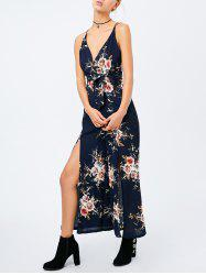 Criss Cross High Slit Maxi Floral Romper