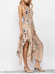 Cami Floral Backless Long Handkerchief Dress - APRICOT