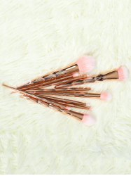 10 Pcs Rhombus Handle Makeup Brushes Set -