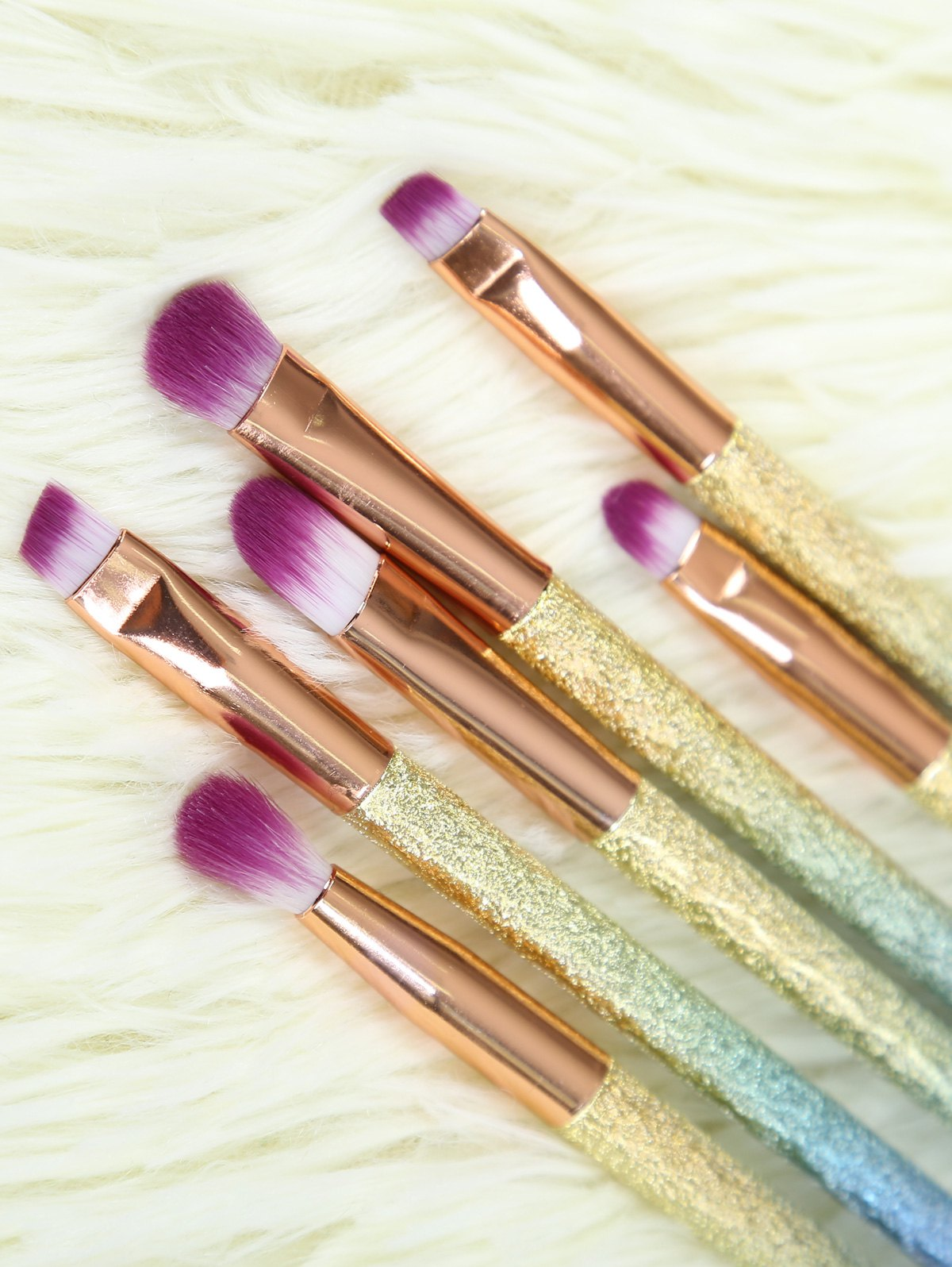 Ombre Glitter Eye Makeup Brushes SetBEAUTY<br><br>Color: ROSE GOLD; Category: Makeup Brushes Set; Brush Hair Material: Synthetic Hair; Features: Professional; Season: Fall,Spring,Summer,Winter; Weight: 0.158kg; Package Contents: 6 x Brushes (Pcs);