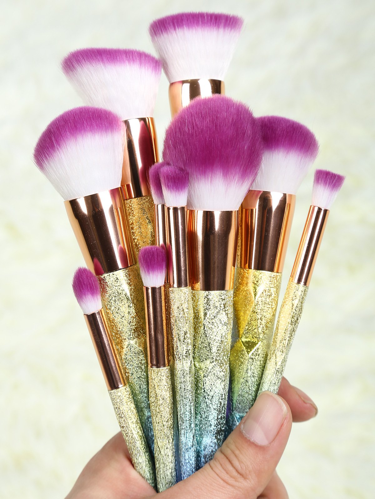 Ombre Glitter Makeup Brushes SetBEAUTY<br><br>Color: ROSE GOLD; Category: Makeup Brushes Set; Brush Hair Material: Synthetic Hair; Features: Professional; Season: Fall,Spring,Summer,Winter; Length: 20.5cm; Weight: 0.211kg; Package Contents: 10 x Brushes (Pcs);
