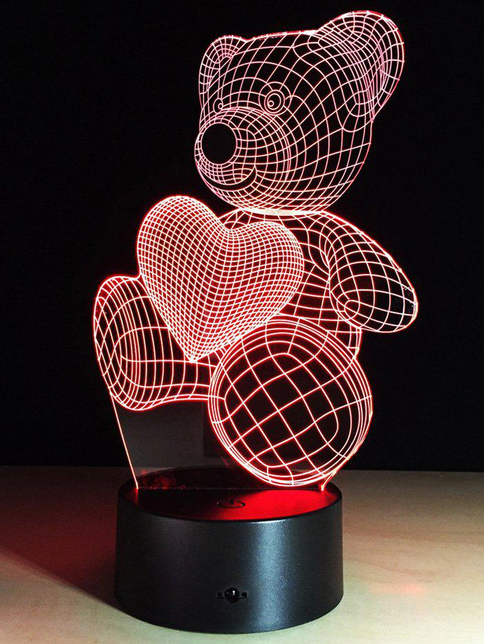 Colorful Valentine Gift 3d Illusion Color Changing Bear