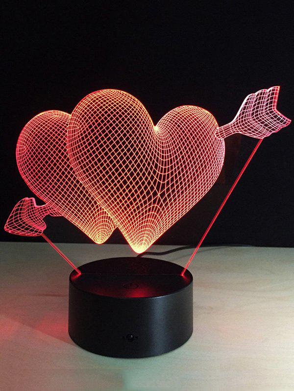 Latest Valentine Day Gift 3D Arrow Through Heart Colorful Touch Night Light