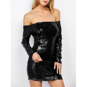 Off Shoulder Sequin Long Sleeve Glitter Sparkly Tight Dress - Black - S