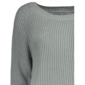 Boat Neck Loose-Fitting Ribbed Sweater - GRAY ONE SIZE