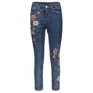 Straight Leg Embroidered Jeans -