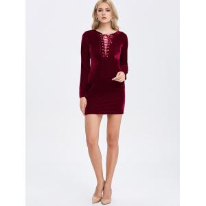 Velvet Lace-Up Long Sleeve Short Bodycon Dress - DEEP RED S