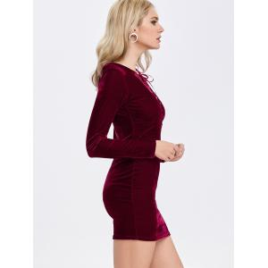 Velvet Lace-Up Long Sleeve Bodycon Cocktail Dress - DEEP RED S