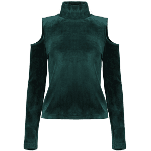 High Neck Cold Shoulder Velour Top - GREEN L