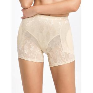Floral See-Through Padded Boyshorts - Complexion - M