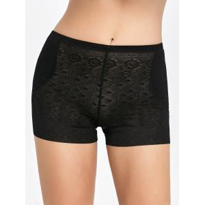 Padded Insert Boyshort Panties - Black - M
