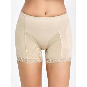 Lace Trim Padded Panties Boyshorts - Complexion - M