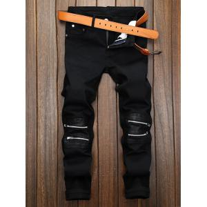 Zippered Straight Leg Pocket Pants