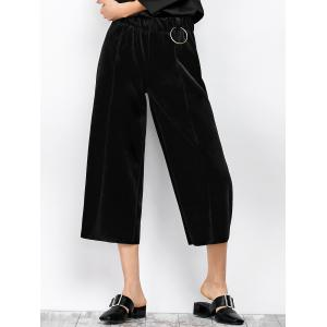 Velvet Cropped Wide Leg Pants