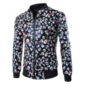 Skull Print Zip Up Faux Leather Jacket