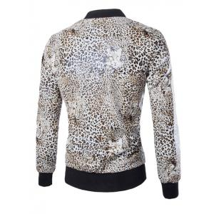Zip Up Faux Leather Leopard Jacket - LEOPARD XL