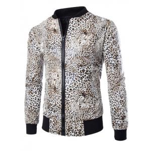 Zip Up Faux Leather Leopard Jacket