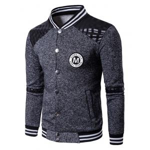 Patch Design PU Panel Button Up Jacket