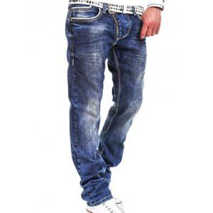Faded Design Zip Fly Straight Leg Jeans - Blue - 32