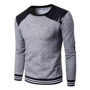 Elbow Patch PU Panel Crew Neck Sweatshirt