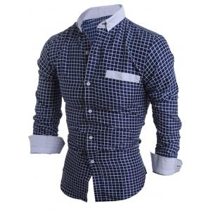 Long Sleeve Checked Button Down Casual Shirt - CADETBLUE L