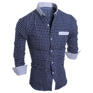 Long Sleeve Checked Button Down Casual Shirt - Cadetblue - L