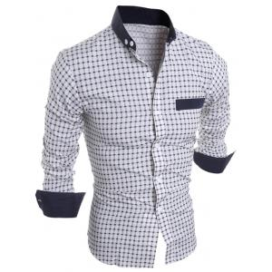 Long Sleeve Checked Button Down Casual Shirt