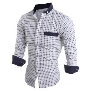 Long Sleeve Checked Button Down Casual Shirt - WHITE 2XL