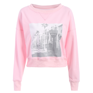 Graphic Front Oversized Sweatshirt - Pink - S