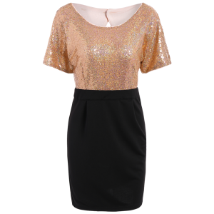 Sequins Two Tone Sheath Dress