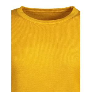 Lantern Sleeve Lace Spliced Loose Sweater - YELLOW ONE SIZE