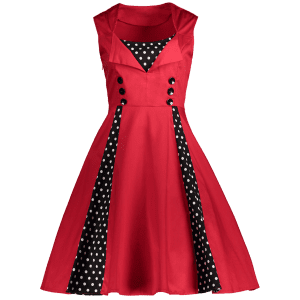 Polka Dot Retro Corset A Line Dress - RED M