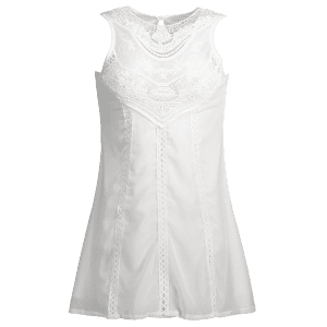 Stylish Jewel Neck Sleeveless Spliced Openwork White Women's Chiffon Dress - WHITE M