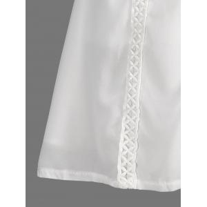 Stylish Jewel Neck Sleeveless Spliced Openwork White Women's Chiffon Dress -