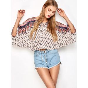 Lace Up Dolman Sleeve Top - Off-white - L