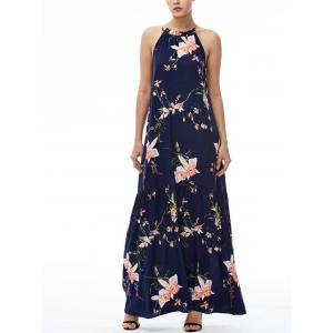 Floral Maxi Halter Beach Dress - Navy Blue - S