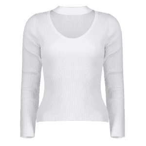 Cut Out V Neck Ribbed Choker Jumper -