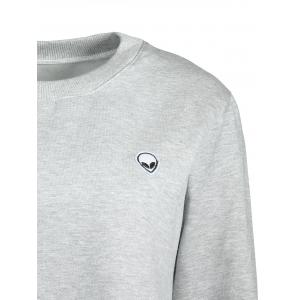 Alien Embroidery Cropped Sweatshirt - LIGHT GRAY ONE SIZE(FIT SIZE XS TO M)