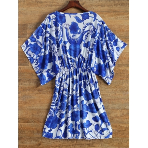 Vintage Porcelain Print Loose Midi Dress -